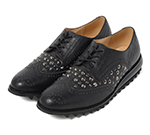 WING TIP SHOES WITH STUDS / BLACK