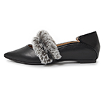 POINTED TOE WITH FUR / BLACK