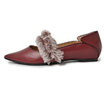 POINTED TOE WITH FUR / WINE
