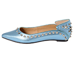 POINTED TOE FLATSHOES W/ STUDS / LIGHT BLUE