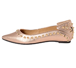 POINTED TOE FLATSHOES W/ STUDS / ROSE GOLD