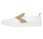 POINTED TOE SNEAKER / WHITE & GOLD GLITTER